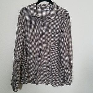 Halogen  Silk & Cotton Blend Button-down Top